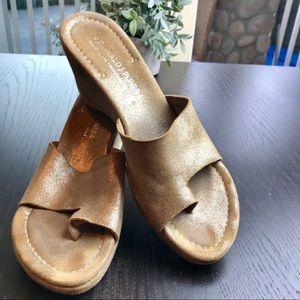 Donald J. Pliner Metallic Gold Wedge Sandal